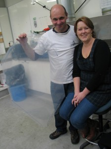 Mark Fenwick with Lucy Ryan (Exhibition Project Manager) with the implant
