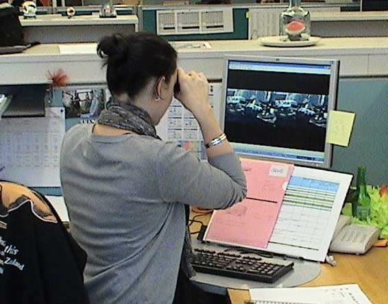 Judy looking at the movie on her PC © Copyright Museum of New Zealand Te Papa Tongarewa, 2008