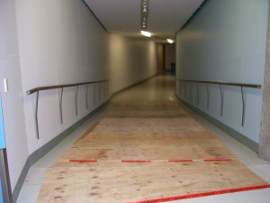 Ramp down with slight bend. We'd covered it with plywood for extra weight support © Copyright Museum of New Zealand Te Papa Tongarewa, 2008
