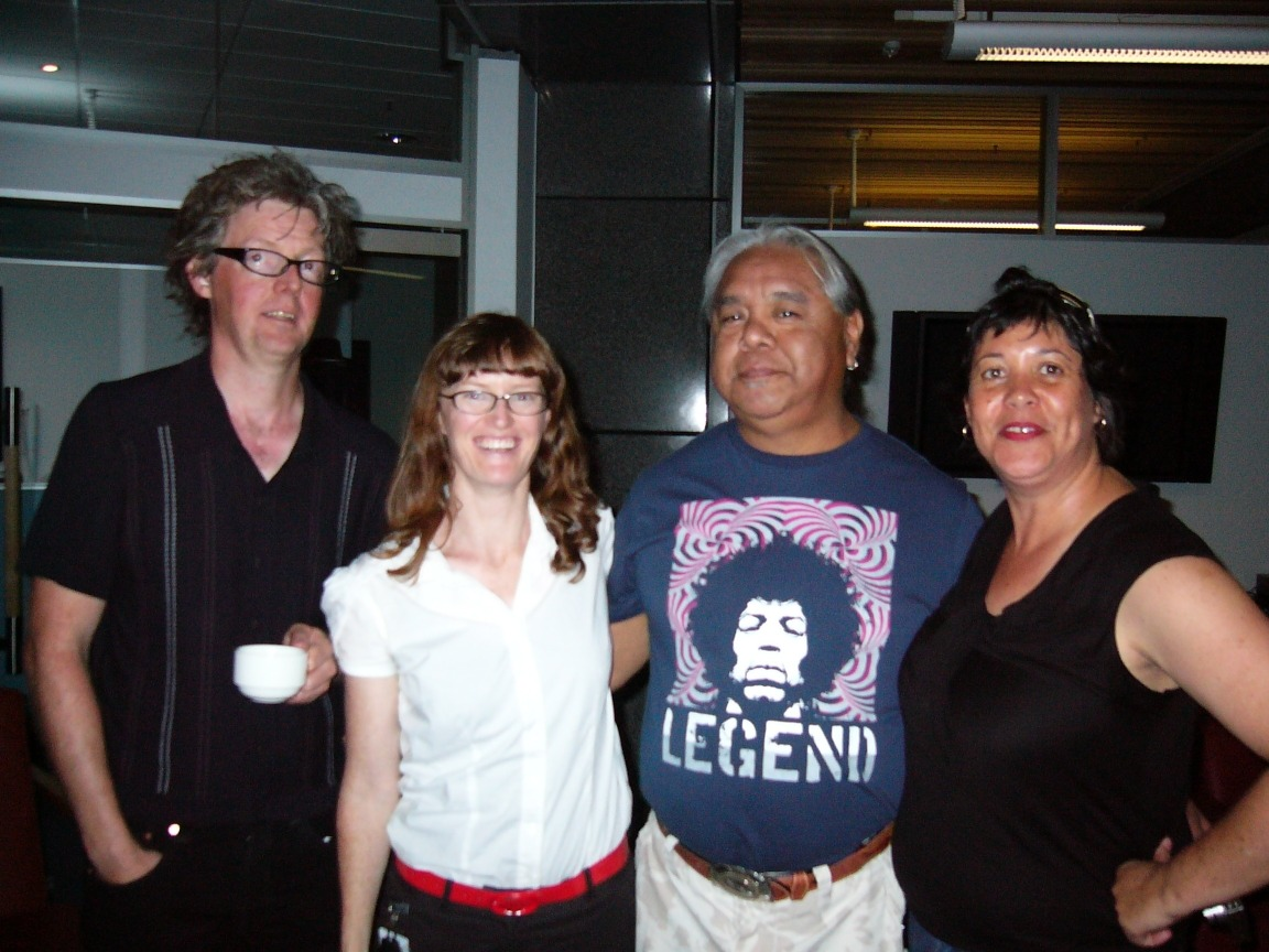 James Luna's mihi at Te Papa on 27 January. L-R David Cross, Charlotte Huddleston, James Luna, Megan Tamati-Quennell.
