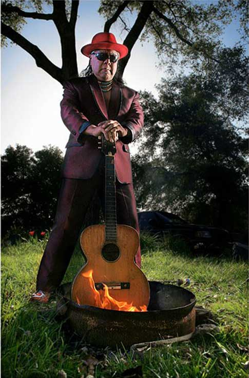 James Luna, End of Acoustic, 2005, from a faux rock & roll multimedia installation - All Indian All the Time
