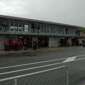 The pits seen from beside the track
