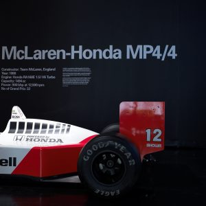 The McLaren MP4-4 on display in the Design Museum, London