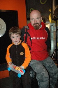 Constructor Jack and Kurt, one of his pit crew. © Te Papa, 2009.