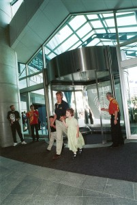 Sir Peter Blake and friends opening Te Papa in 1998.©Te Papa