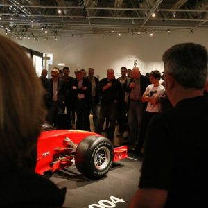 Bob McMurray & Michael Clark at the Ferrari F2004. Copyright Te Papa 2009.