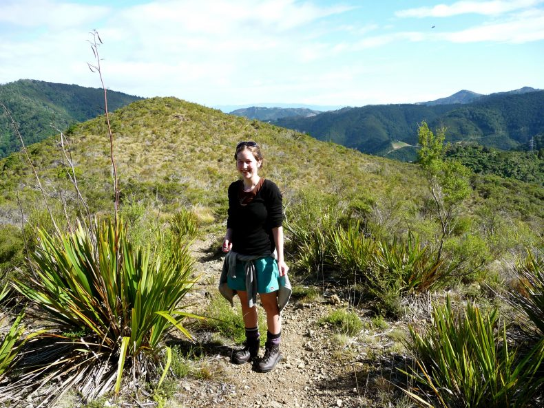 Jessie and Wahlenbergia albomarginata subsp. olvina on the ultramafic Dun Mountains near Nelson, New Zealand.