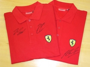 Signed Ferrari shirts - thanks Shell V-Power!