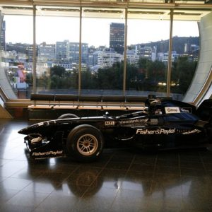 The NZL A1GP car in the Wellington Foyer, Level 2. Copyright Te Papa 2009.
