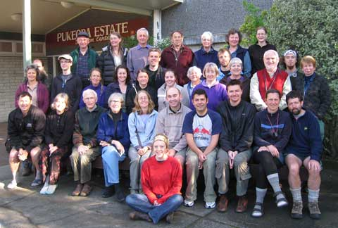Group photo for the 24th (2009) John Child Bryophyte Workshop. Photo by Terry Evans & Ross Beever. (c) Terray Evans, Auckland.