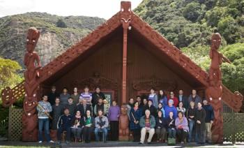 Wananga members in front of Te Heke-Mai-Raro. copyright Te Papa