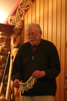 Dr Richard Nunns sharing his knowledgeo of taonga puoro. Copyright Florence Liger