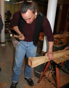 Warren Warbrick shaping a pukaea. Copyright Florence Liger