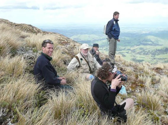 Bryologists often move at a notoriously slow pace. However, these ones made it beyond Sunrise Hut (a climb of about 700m!). Photo by Antony Kusabs. (c) Antony Kusabs, Upper Hutt.