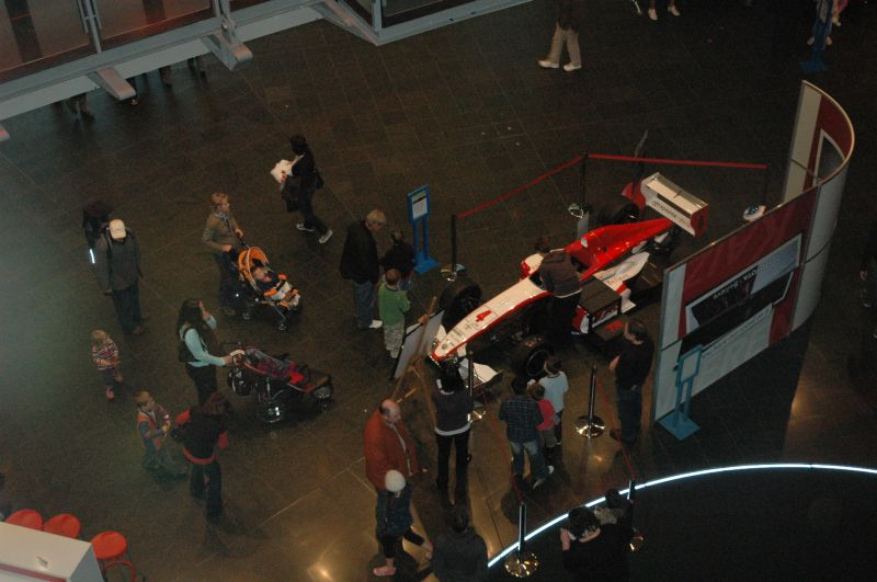 View of the TRS showcar on Level 2, from Level 4. © Te Papa, 2009.