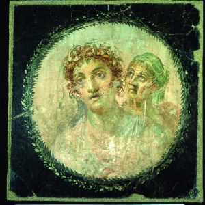 Medallion with couple. Painted plaster. Pompeii, House of the Gold Bracelet.  Source – Soprintendenza Speciale per i Beni Archeologici di Napoli e Pompei