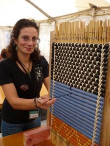 Ester with her tukutuku panel