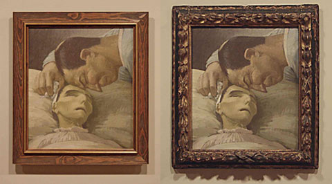 Installation shots from Toi Te Papa exhibition: Henry Lamb's painting Death of a peasant, 1911. At left, framing by Te Papa about 1970; at right, frame put on by the artist in 1911, and now returned to the painting. © Museum of New Zealand Te Papa Tongarewa