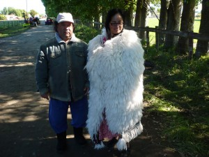 John Lamb and Awhina wearing his mohair cloak