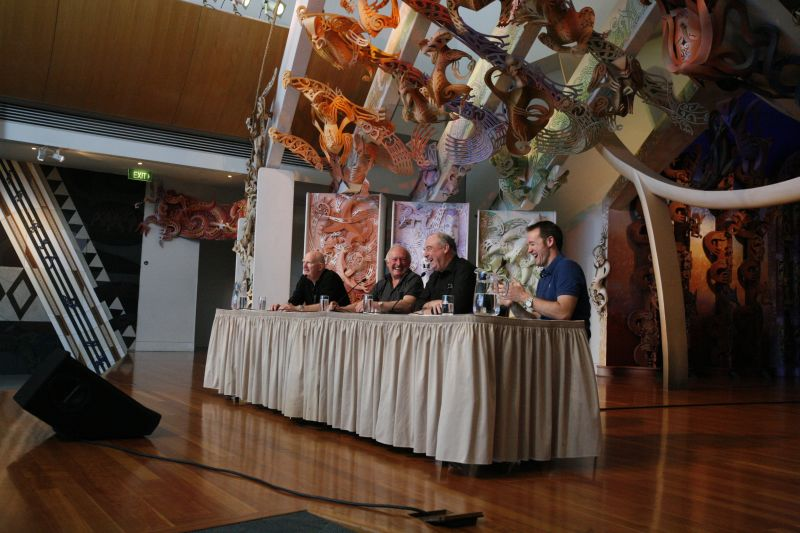 Michael, Chris, Bob, and Greg at the 'Ask the Boys' event on Te Marae. © Te Papa, 2009.