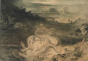 The Country of the Iguanodon, 1837 by John Martin (1789–1854), watercolour. Gift of Mrs Mantell-Harding, 1961. Image © Te Papa.