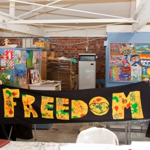 Freedom banner made in screen-printing workshop