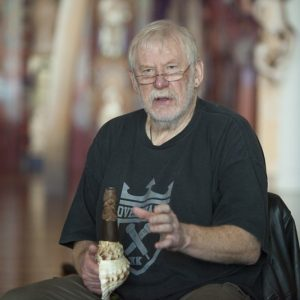 Richard Nunns with a pūtātara