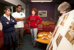Selecting photographs for the exhibition with the youth reference group