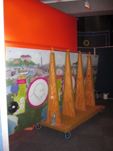 The new bro'town laughter lines interactive being installed in Inspiration Station (c) Te Papa, 2010