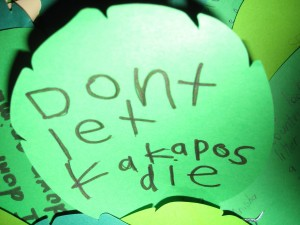 don't let the kakapo die! A filled in feather on the words on a wing kakapo | (c) Te Papa 2010