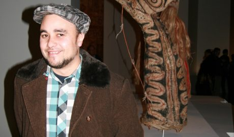 Riki Gooch, musician and producer, in the Paperskin exhibition