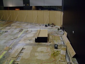 A huge mass of wires is installed under the floor.