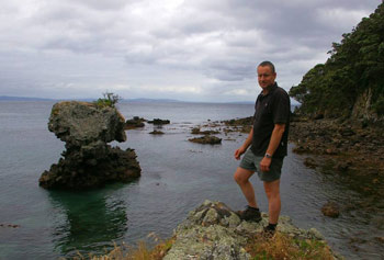 2.Colin Miskelly in Dragon Mouth Cove, Hen Island, December 2010. Photo: Colin Miskelly.