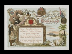 GH009568 Invitation to the hui at Rotorua put on for the Duke and Duchess of Cornwall and York, 1901, by Benoni White. Te Papa.