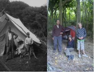 Left: Edgar Stead, Dot Stead and Roland Stead, possibly on Nukuwaiata in 1936 (when Roland was 13 years old). Right: Colin Miskelly, Kate McAlpine and Kieran Miskelly (age 13) on Nukuwaiata in 2011.