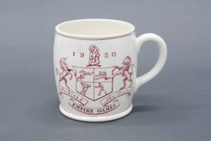 1950 Empire Games commemorative cup, 1950, Crown Lynn Potteries Ltd (1948–1991), Shufflebotham, Ernest (1908–1984), Auckland. Purchased 1998 with New Zealand Lottery Grants Board funds. Te Papa