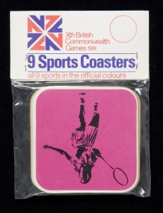 Coasters, 'Xth British Commonwealth Games', 1974, Maker unknown, New Zealand. Gift of Jan Sammons, 2008. Te Papa