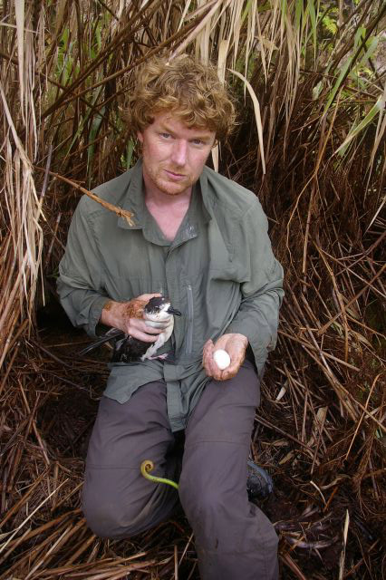 Alan Tennyson holding a Vanuatu petrel and egg