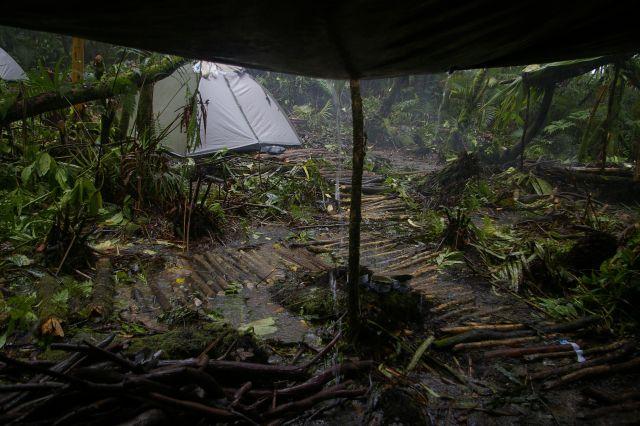 Water-logged campsite at Qwelrakrak