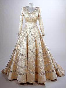 Princess Elizabeth's wedding gown, designed by Norman Hartnell. Royal Collection.