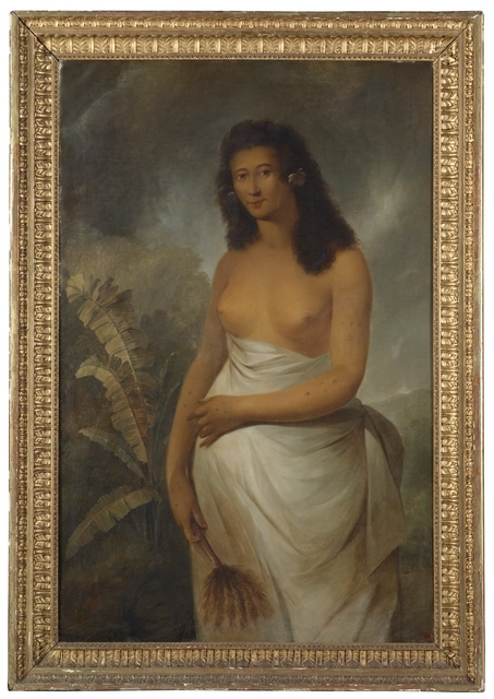 Image of Poedua in its frame immediately after it arrived at Te Papa. Photograph taken by Michael Hall. © Te Papa.