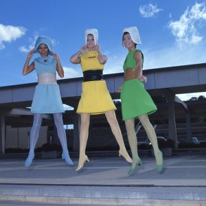 A Pierre Cardin fashion parade at the Canberra Theatre Centre, 1967. Ladies levitating with no help from the photographer Lee Lin Chin. National Archives of Australia.