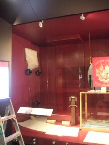 Display case with Seddon's Civil Uniform removed from it. Photograph: Kirstie Ross