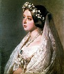 Queen Victoria in her wedding attire. This painting by Franz Xaver Winterhalter was commissioned in 1947 as a wedding anniversary gift to Prince Albert.