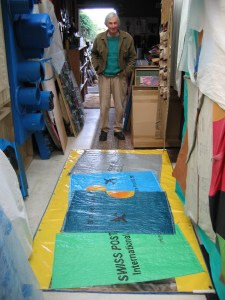 Artist Don Driver in his studio, New Plymouth, March 2004. Photo: Jim and Mary Barr, reproduced with permission.