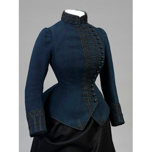 Woman's riding jacket of flannel trimmed with mohair and lined with sateen, designed and made by Messrs Redfern and Co., England, 1885-1886. Collection of the Victoria and Albert Museum, London.