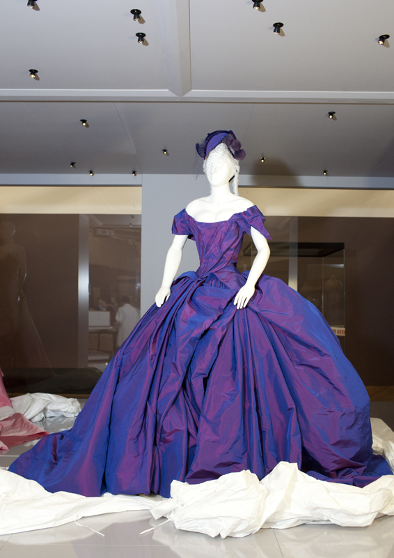 Dita von Teese's wedding gown by Vivienne Westwood fully unveiled. Photo: Kate Whitley, Te Papa.