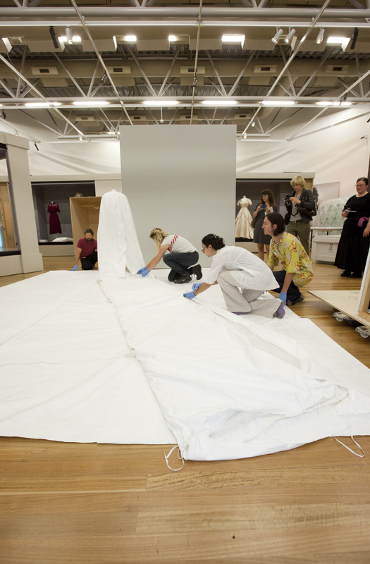 Protectively veiled in Tyvek. Photo: Kate Whitley, Te Papa