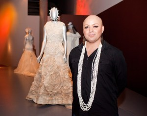 Lindah Lepou models alongside her extraordinary tapa cloth gown. Photo: Michael hall, Te Papa