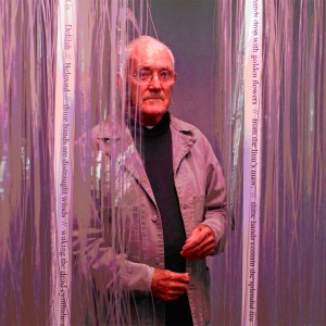 Artist Jim Allen with his work Tribute to Hone Tuwhare, 1969. Photo: Michael Hall, Te Papa